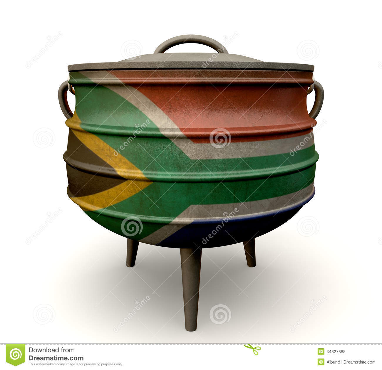 South african potjie pot painted flag royalty free stock for Fire pots south africa