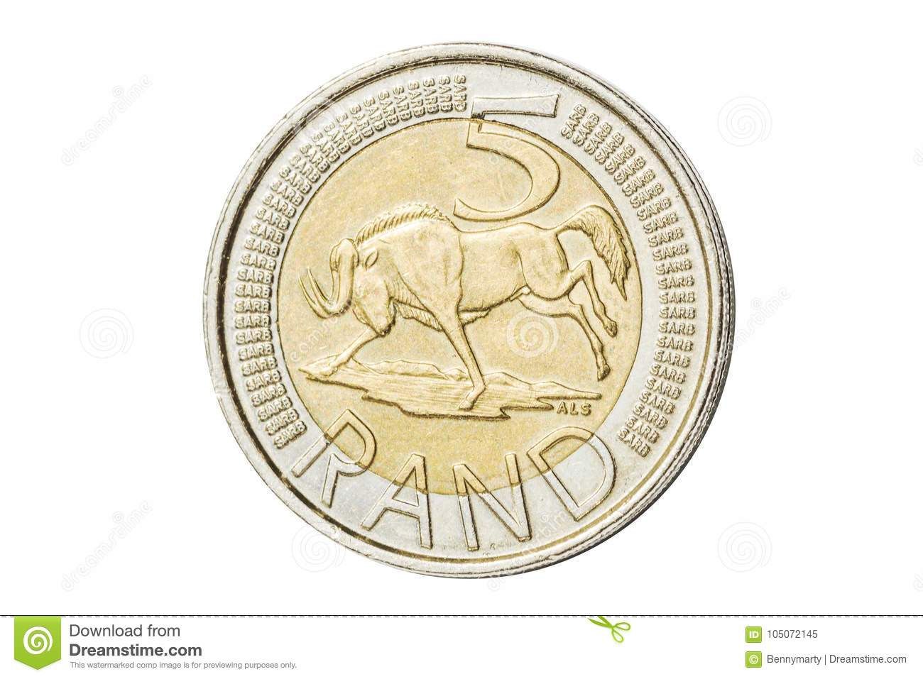 South African 5 Rand Coin Stock Image Image Of Fund 105072145