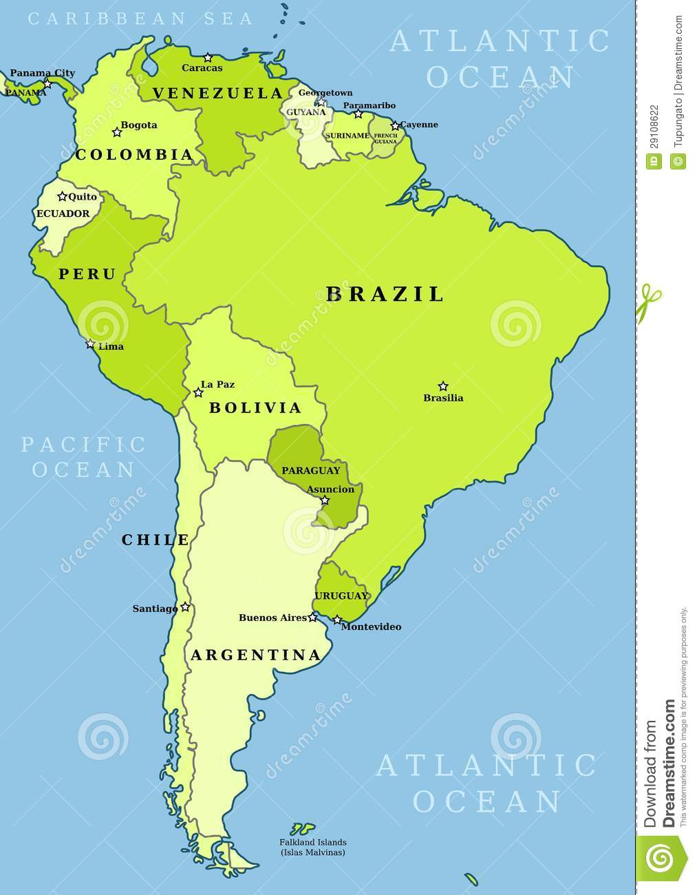 South America Administrative Map Stock Photography Image - Map of sourh america
