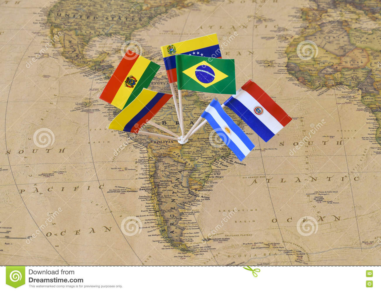 South America Continent With Flag Pins Of Sovereign States On Map - Argentina map continent