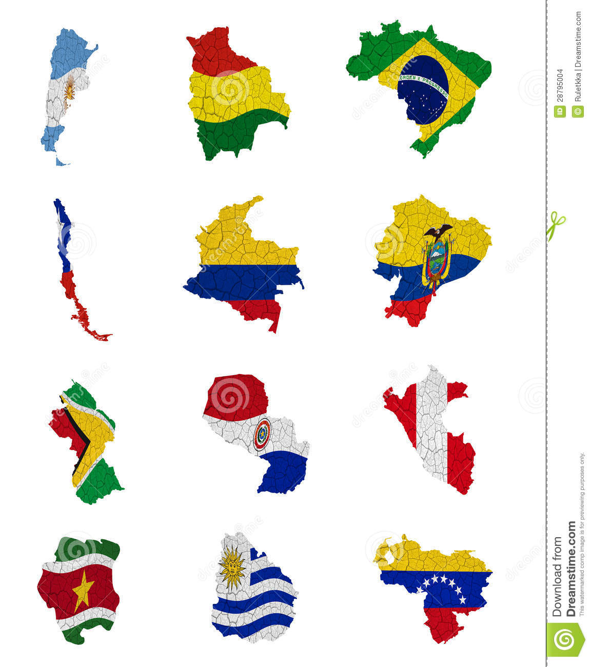 South America Countries Flag Maps Stock Images Image - South america map and flags