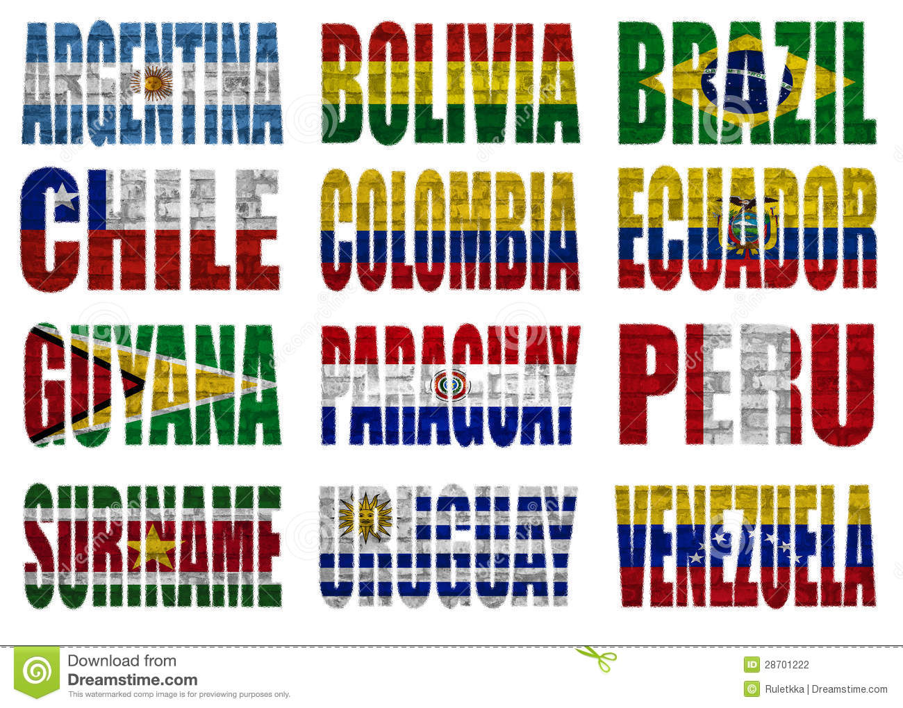 South America Countries Flag Words Stock Photography - Image: 28701222