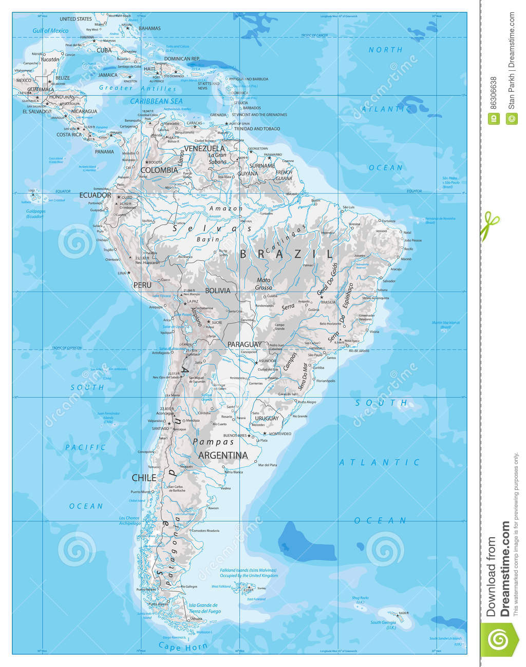 Download South America Detailed Physical Map Stock Vector   Illustration Of  City, Editable: 86306638
