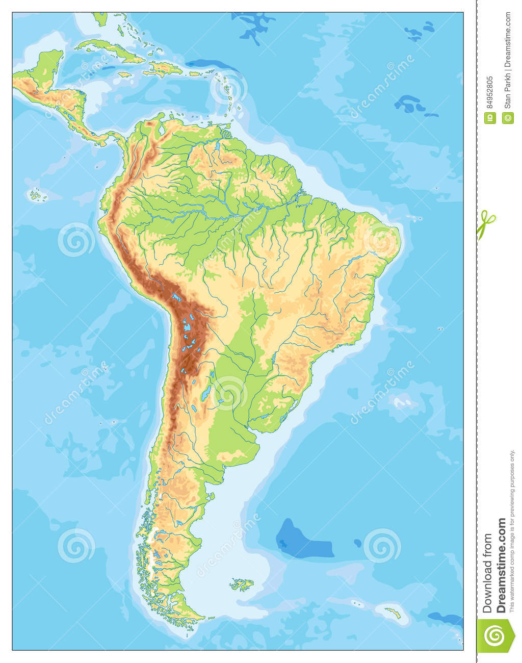 South America Detailed Physical Map With Global Relief Lakes An
