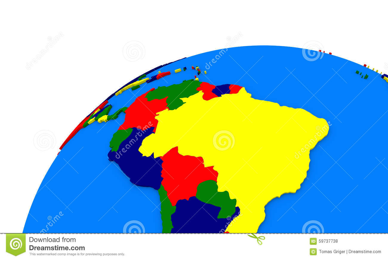 South America On Earth Political Map Stock Illustration ...