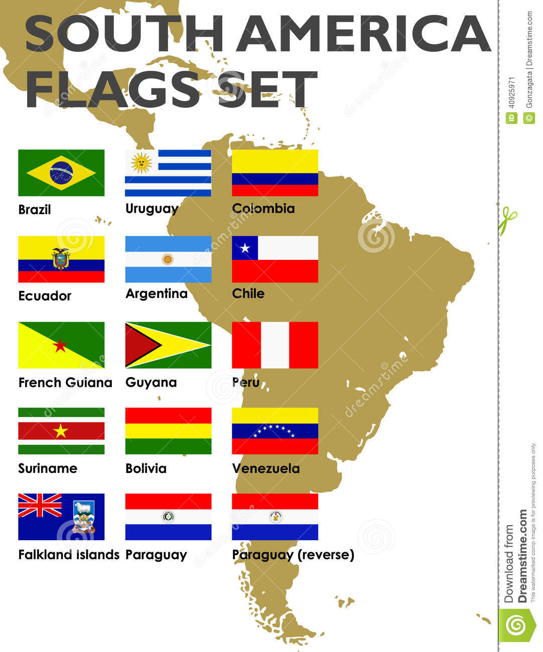 South America Flags Set Stock Vector Image - South america map and flags