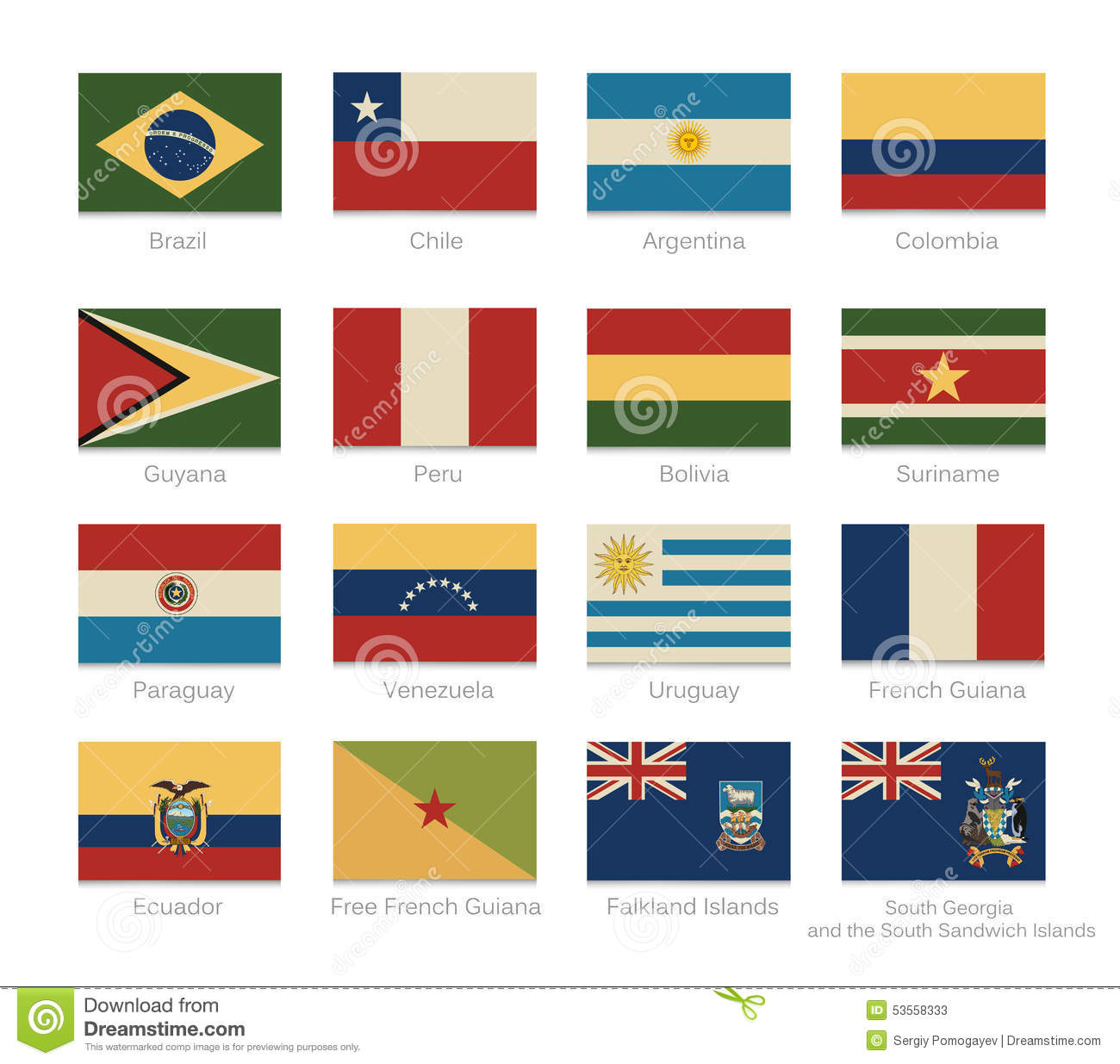 South america flags with a vintage colors stock vector for What color is south america