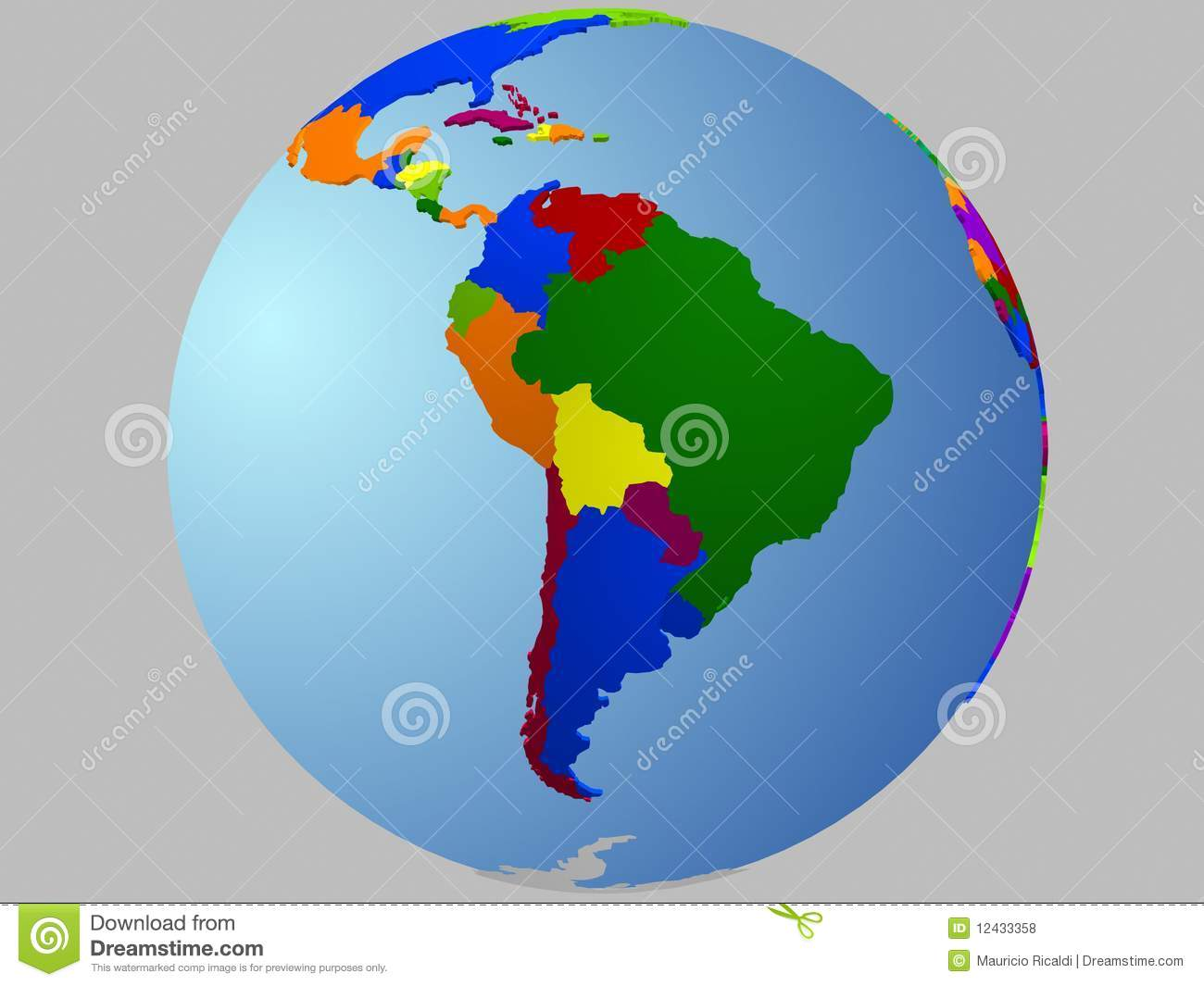 South America globe map stock vector. Illustration of ... on map of antarctica globe, map of pacific ocean globe, map of world globe,