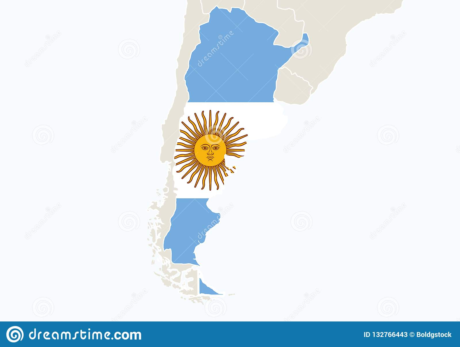 South America With Highlighted Argentina Map Stock Vector ... on