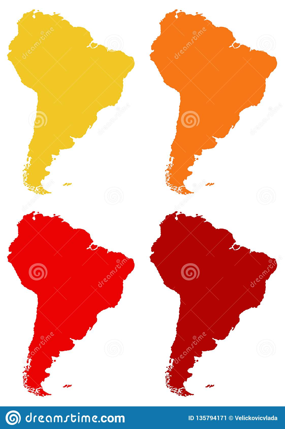 South America or Latin America map - continent in the world