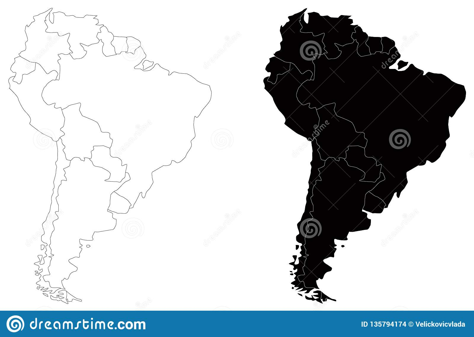 Latin America South America Map.South America Or Latin America Map Continent In The World Stock