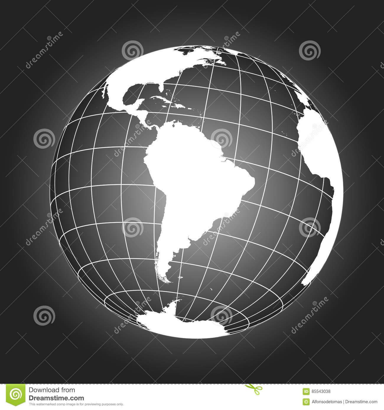 South America Map In Black And White Stock Vector - Illustration of ...