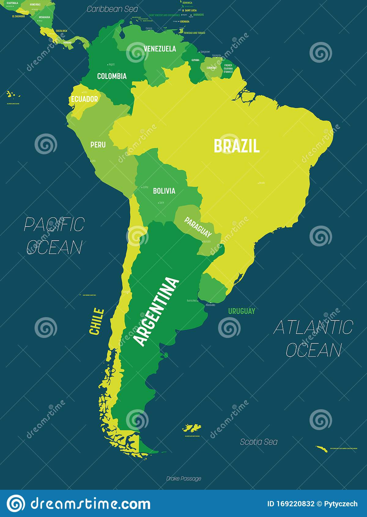 south america map colored