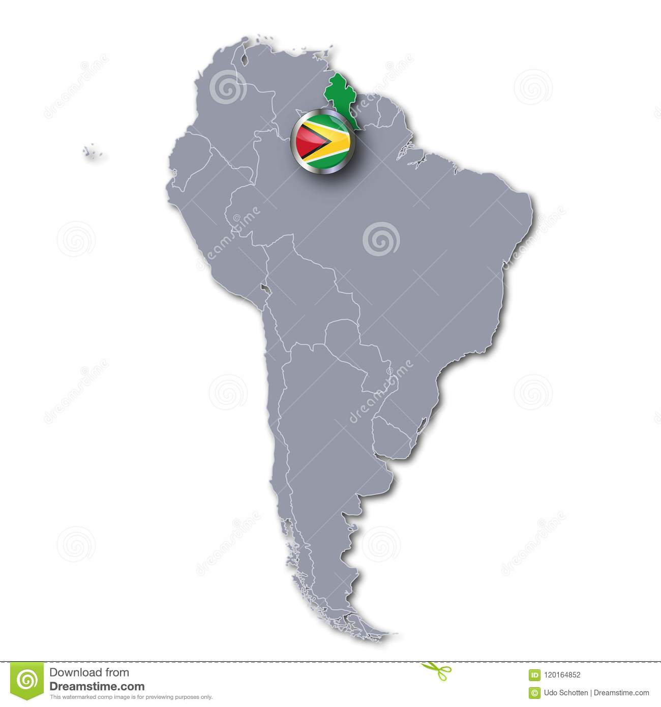 South America Map With Guyana Stock Illustration - Illustration of ...
