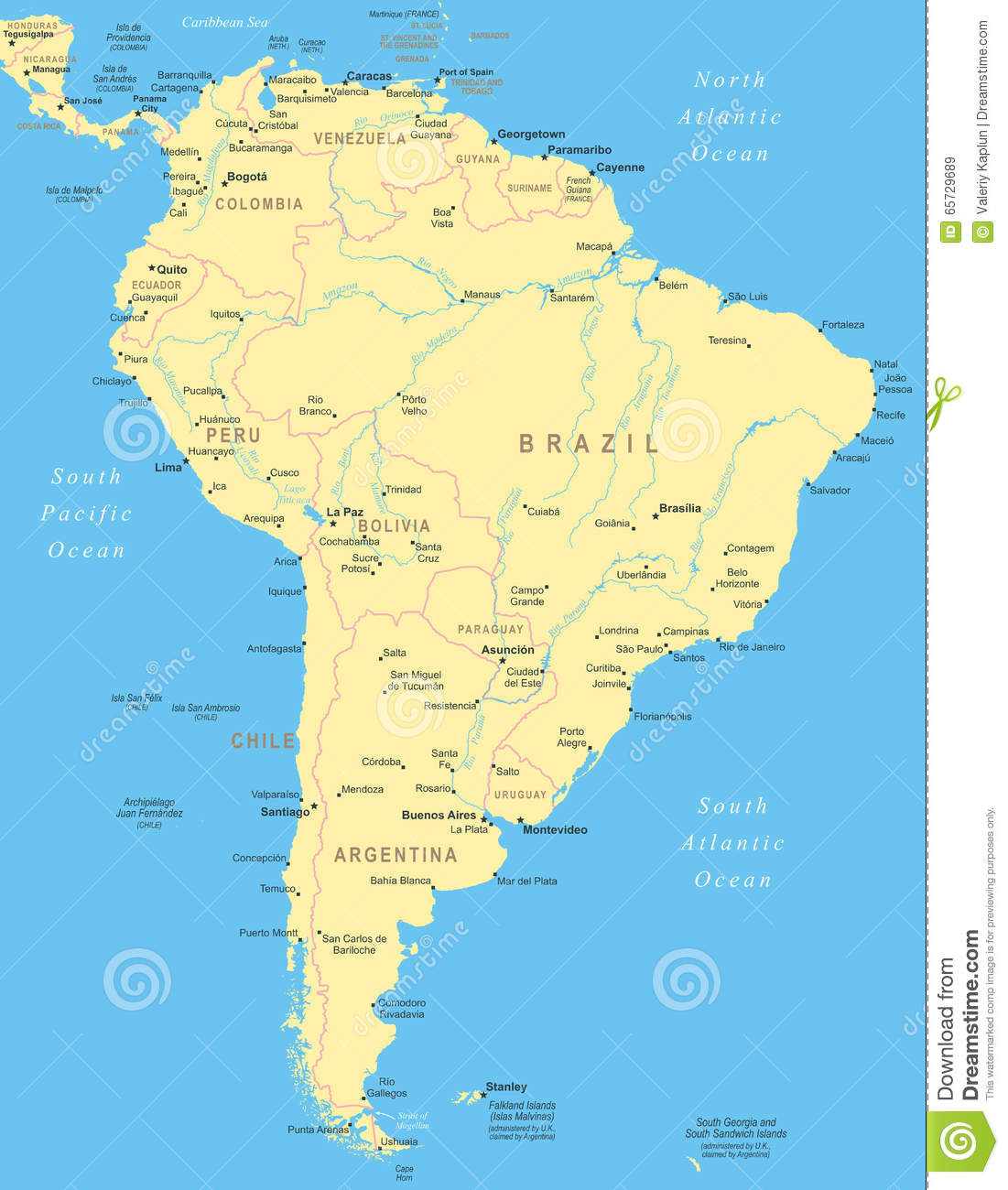 South America Map Royalty Free Stock Photography Image - Map of sourh america