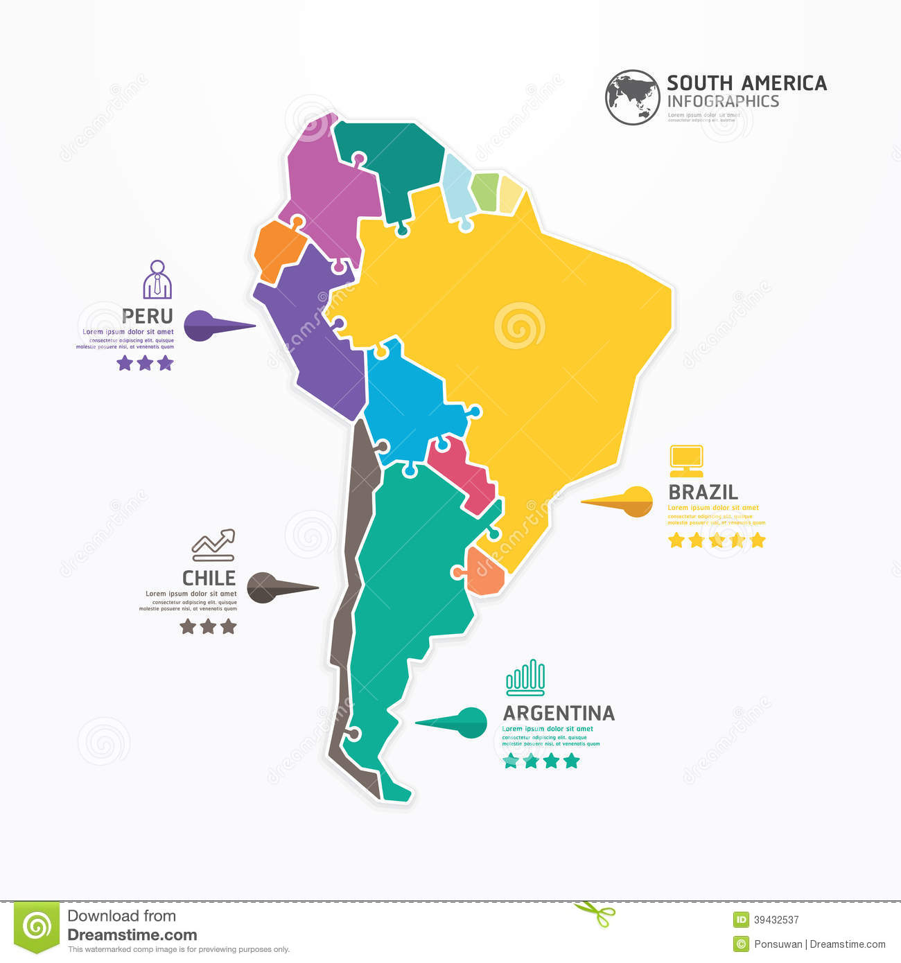 South America Map Infographic Template Jigsaw Concept Banner. Stock ...