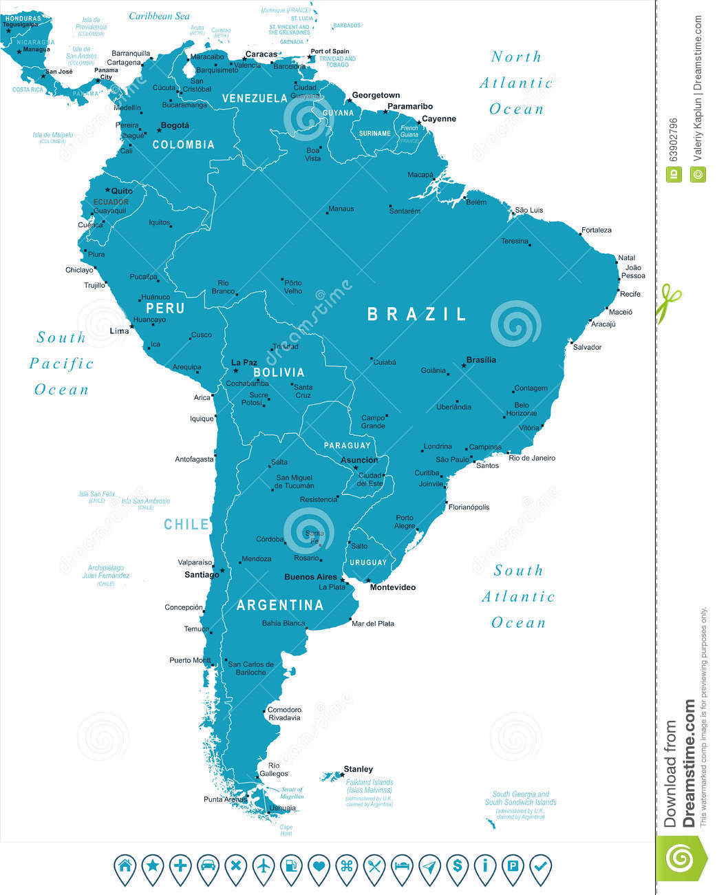 South America Map No Names.South America Map And Navigation Labels Illustration Stock