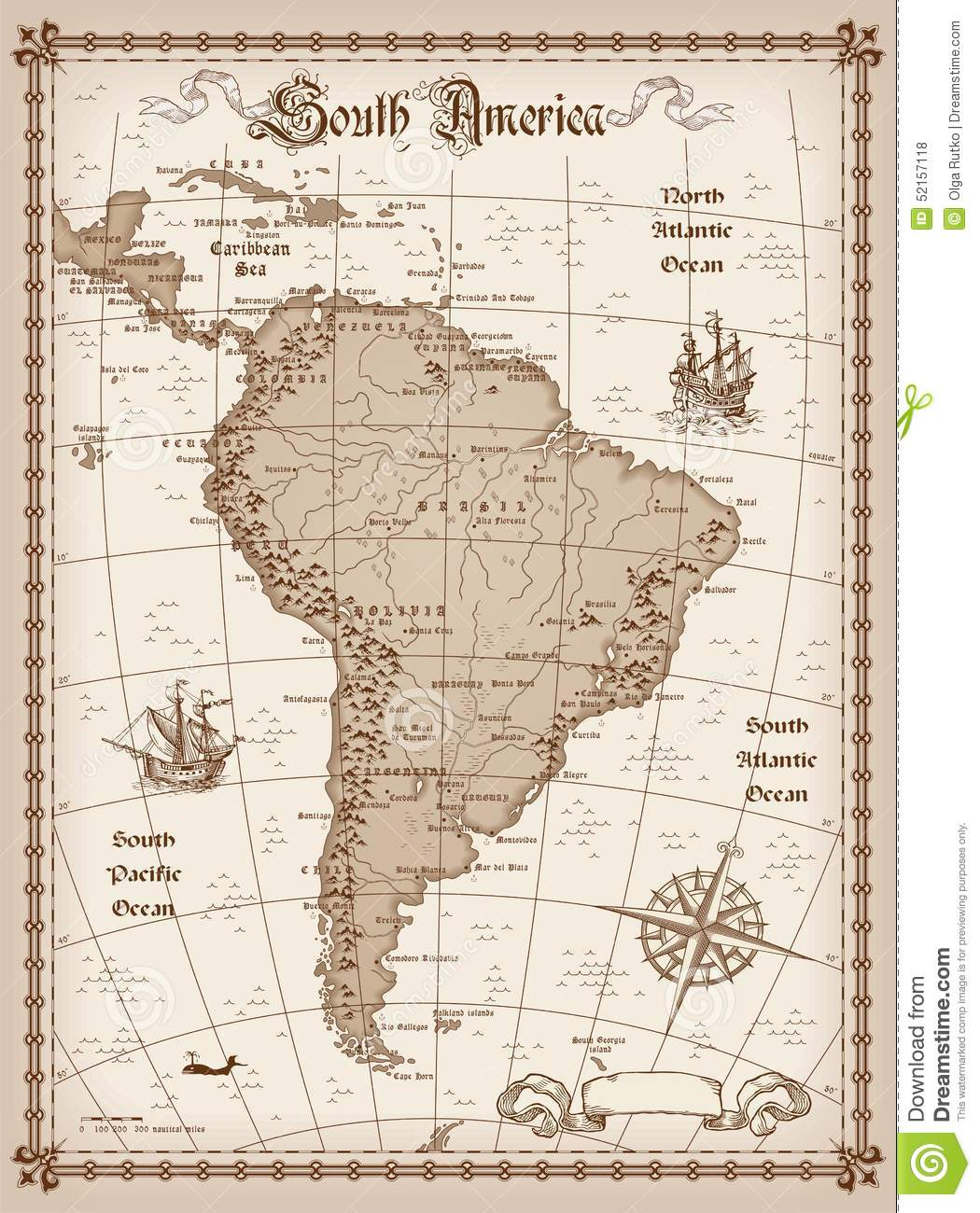 Vintage South America Map stock vector. Image of color - 52157118