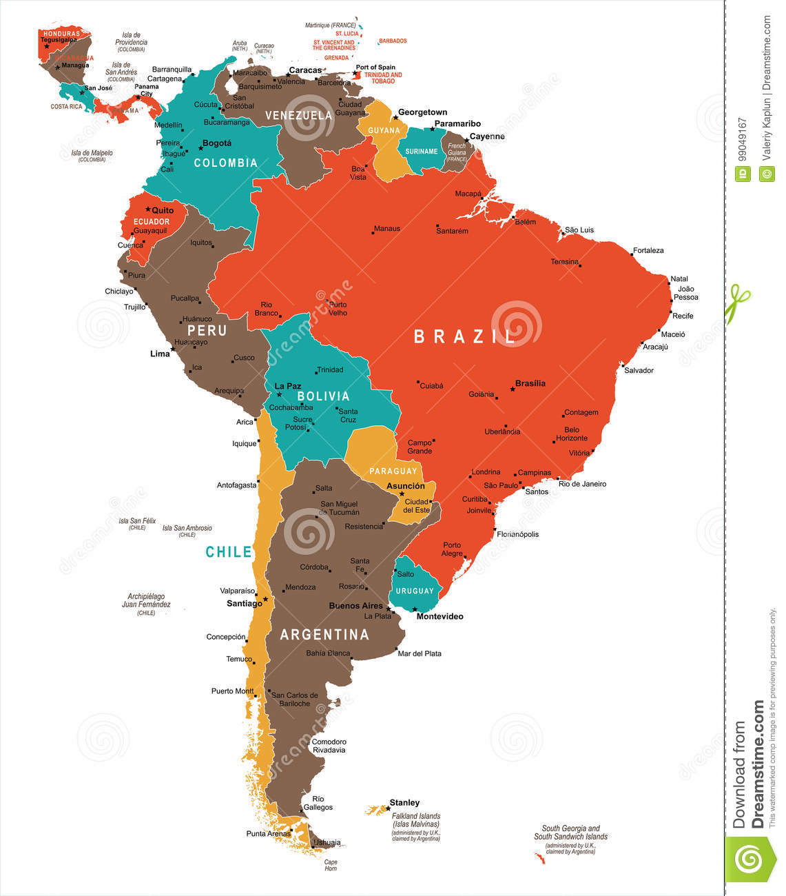 South America Map Vector Illustration Stock Illustration