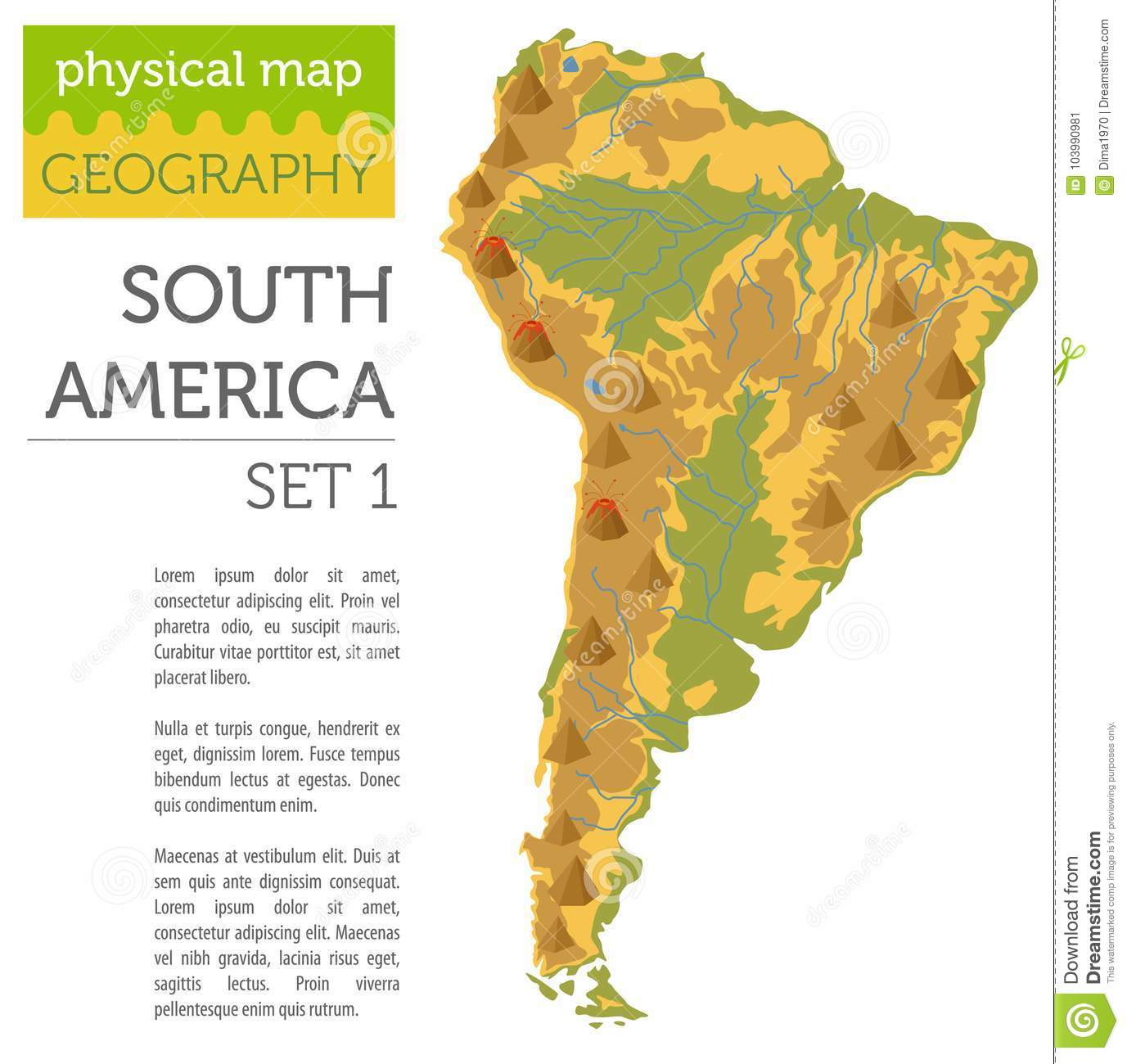 South America Physical Map Elements Build Your Own Geography In