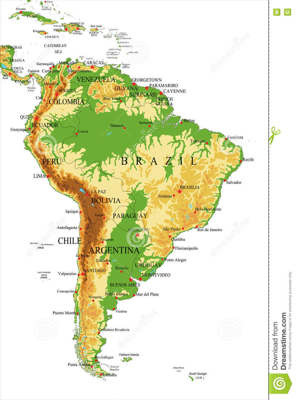 South Americaphysical Map Stock Vector Image Of French - Physical map of south america