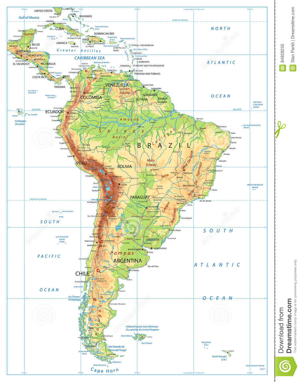 Download South America Physical Map On White Stock Vector   Illustration Of  South, Colombia: