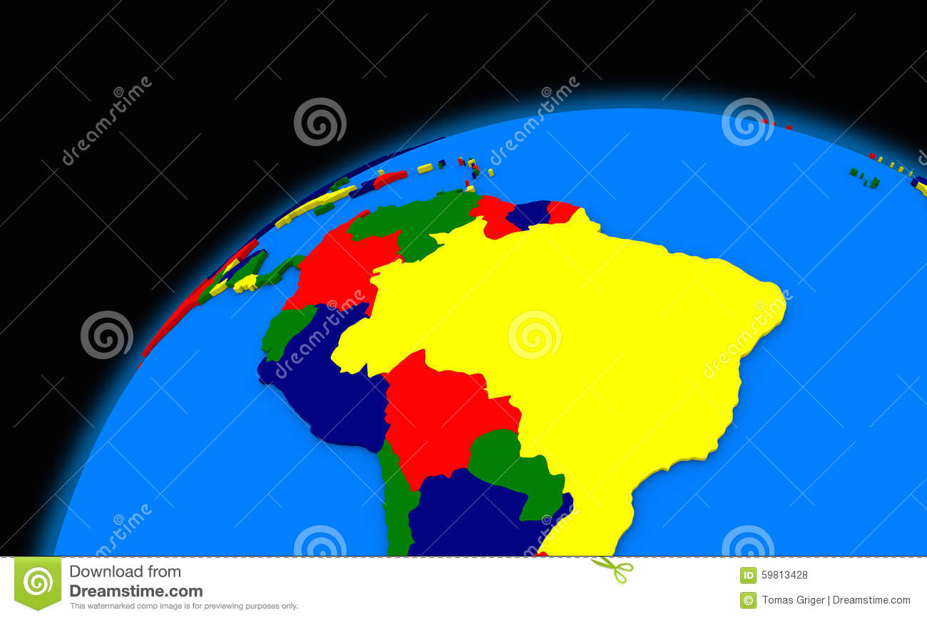South America On Planet Earth Political Map Stock Illustration ...
