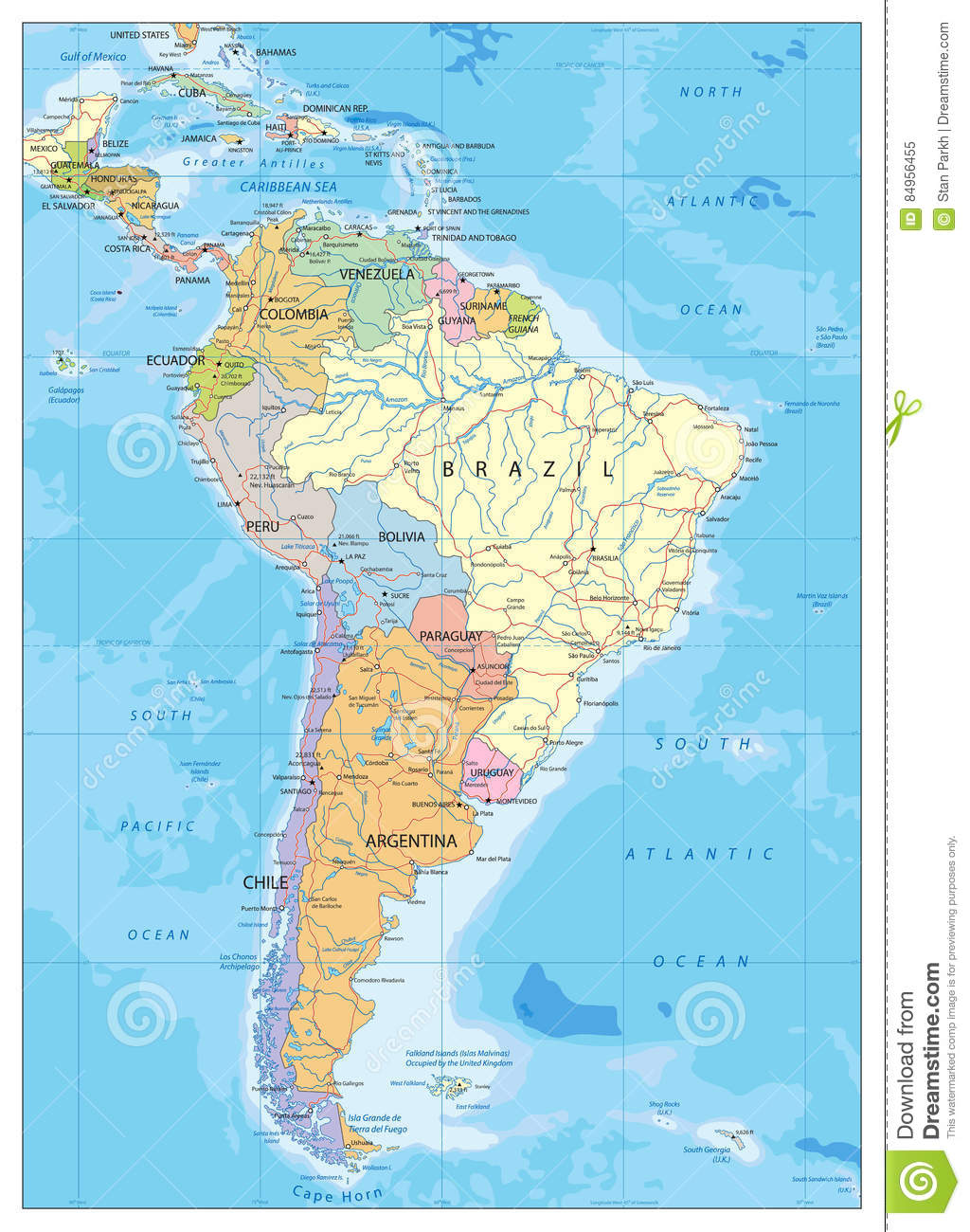 South America Political Map Stock Vector - Illustration of capital ...