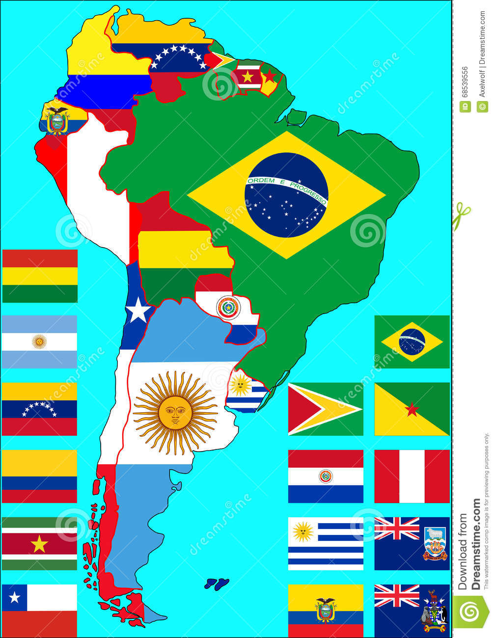south america political map world atlas primary south america