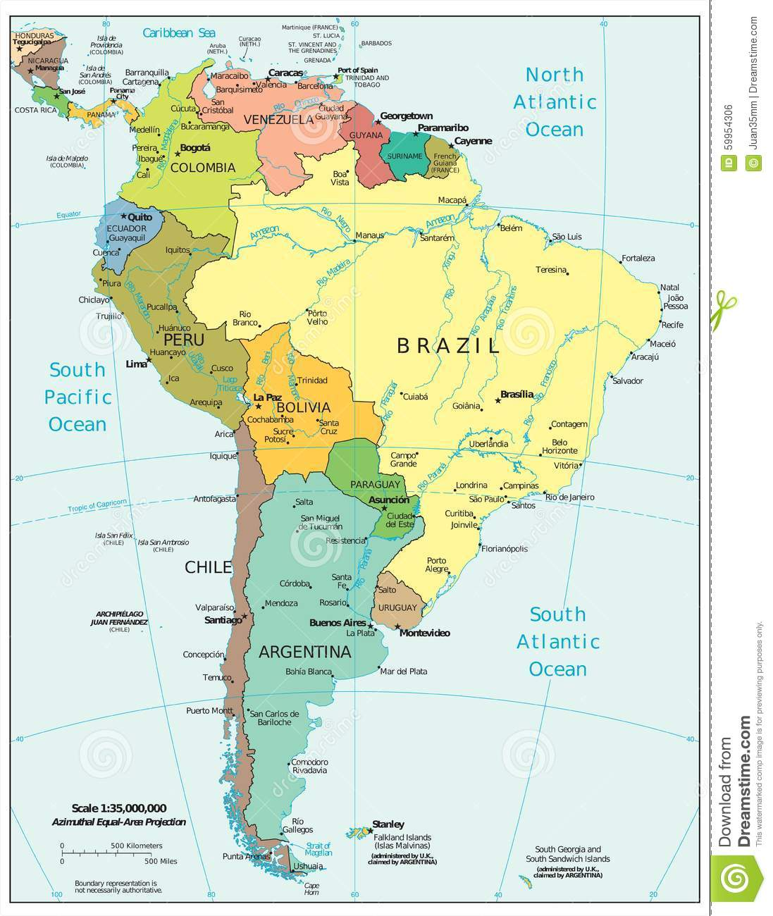 Royalty Free Ilration Download South America Region Political Divisions Map