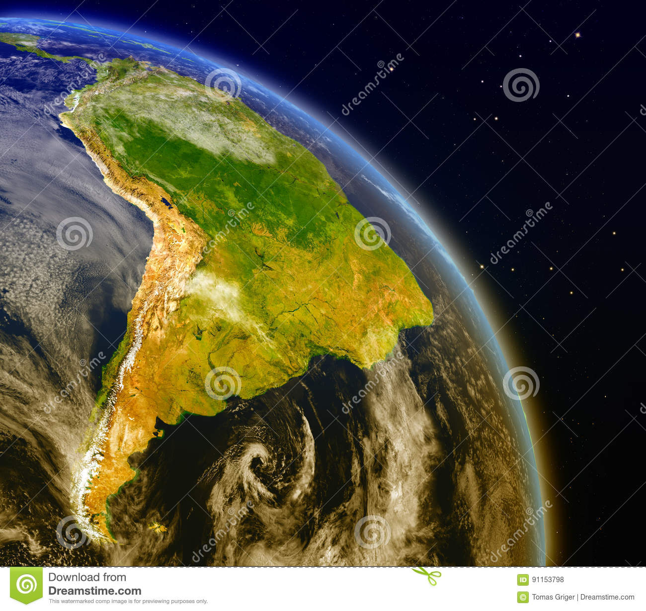 South America from space stock illustration. Illustration of ... on
