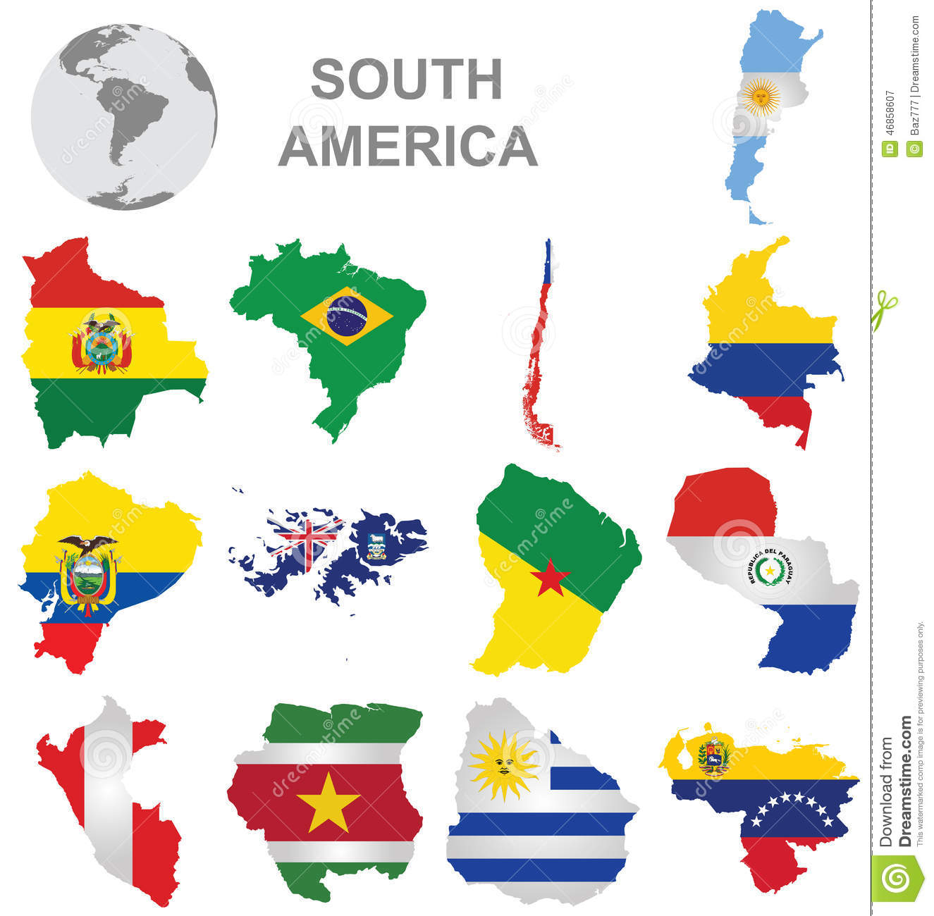 South American Countries stock vector Image of islands 46858607