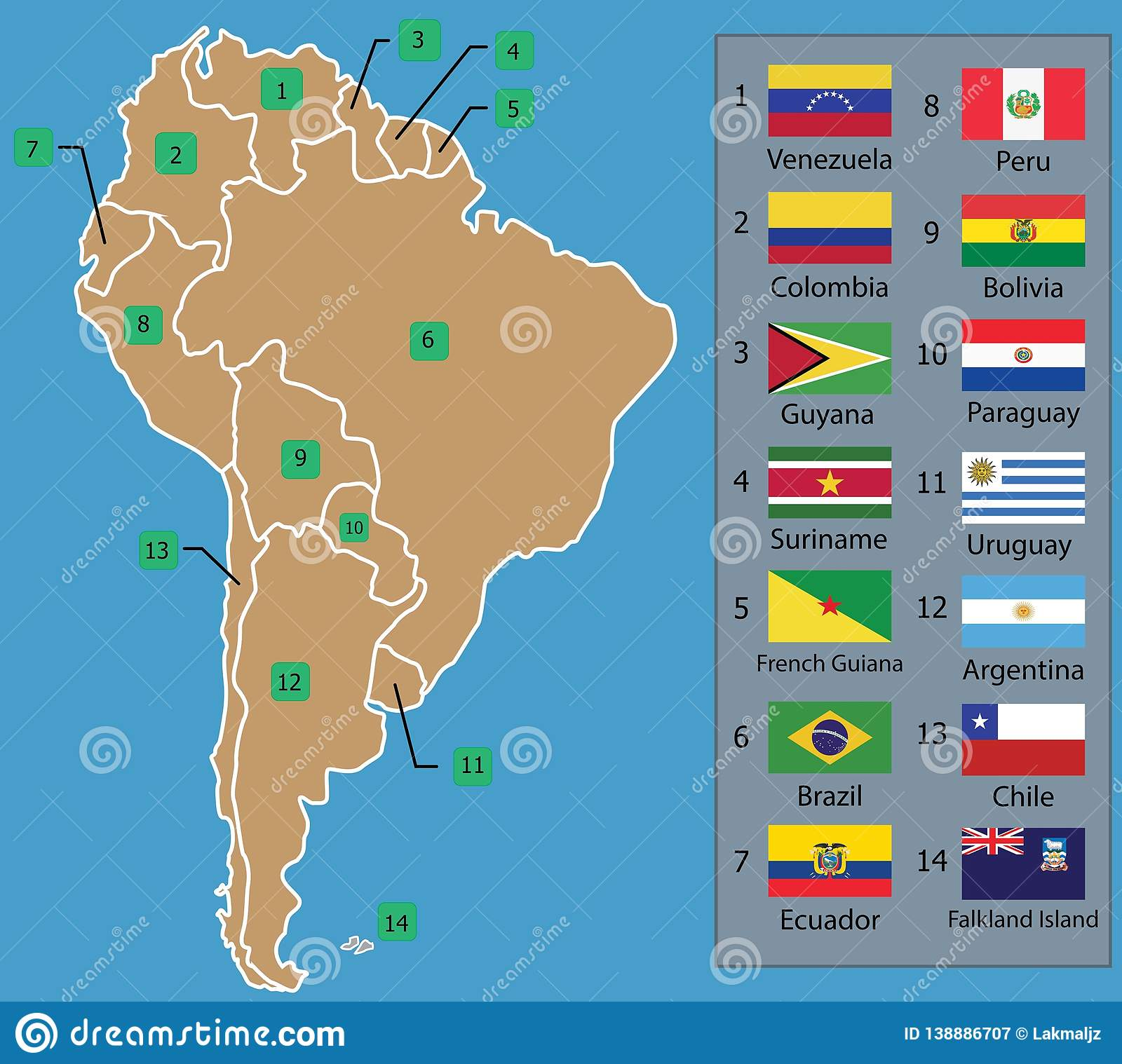 South American Map And South American Countries Flags With ...
