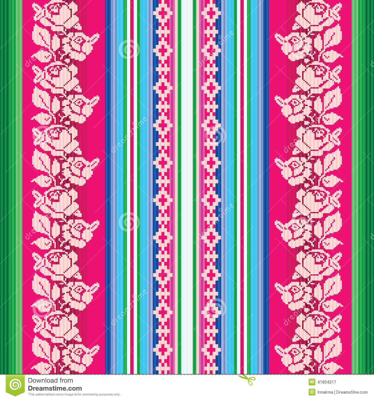 South American Traditional Textile Seamless Pattern Stock