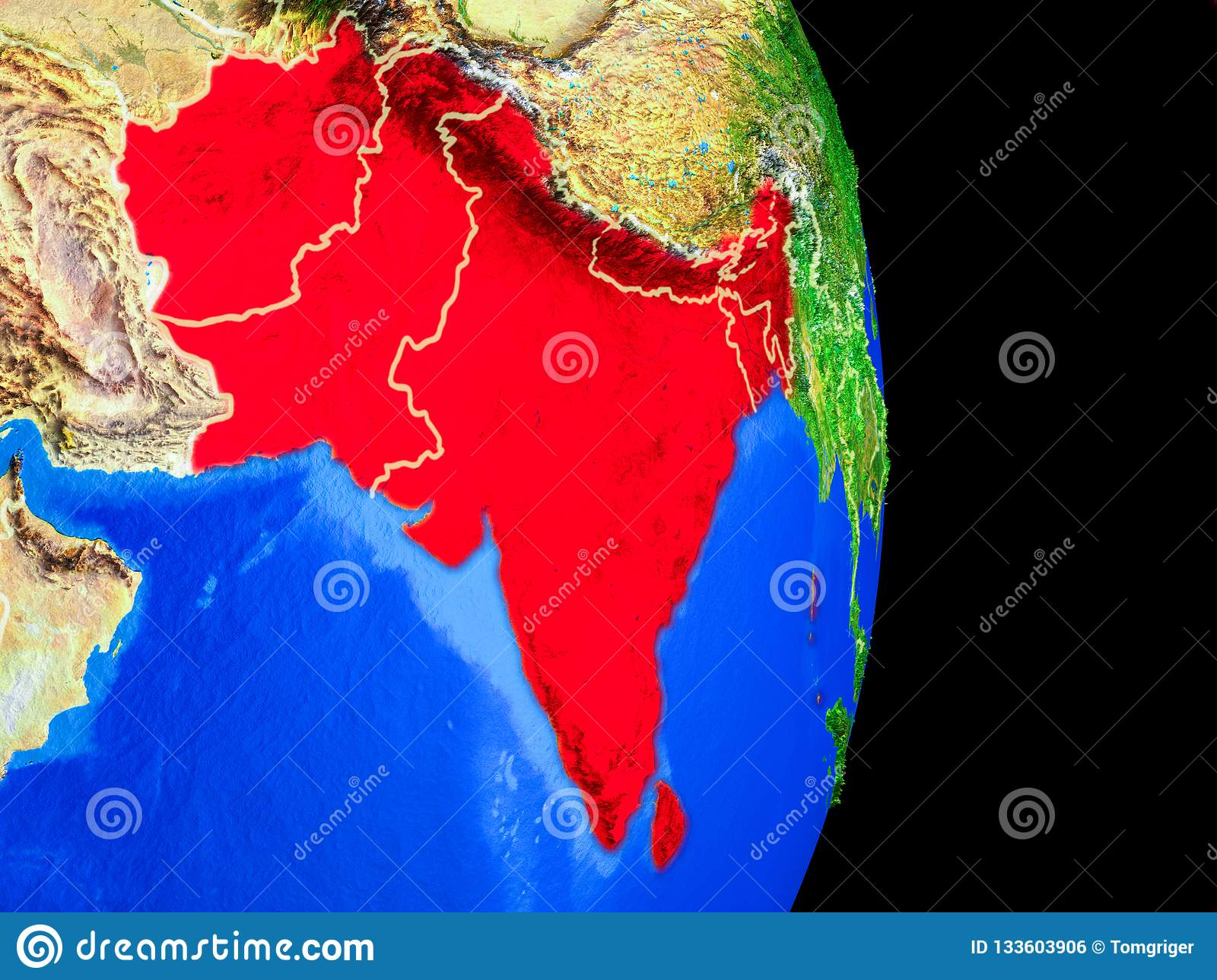 South Asia On Globe From Space Stock Illustration ... on map of world globe, map of north america globe, map of new zealand globe, map of middle east globe,