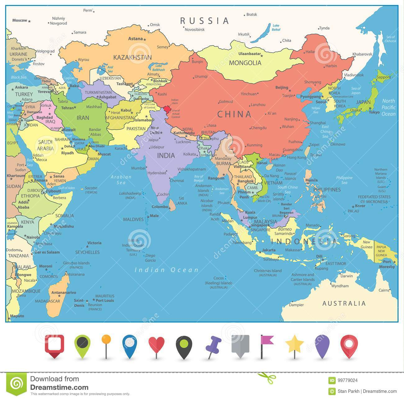 South Of Asia Map.South Asia Map And Flat Map Markers Stock Vector Illustration Of