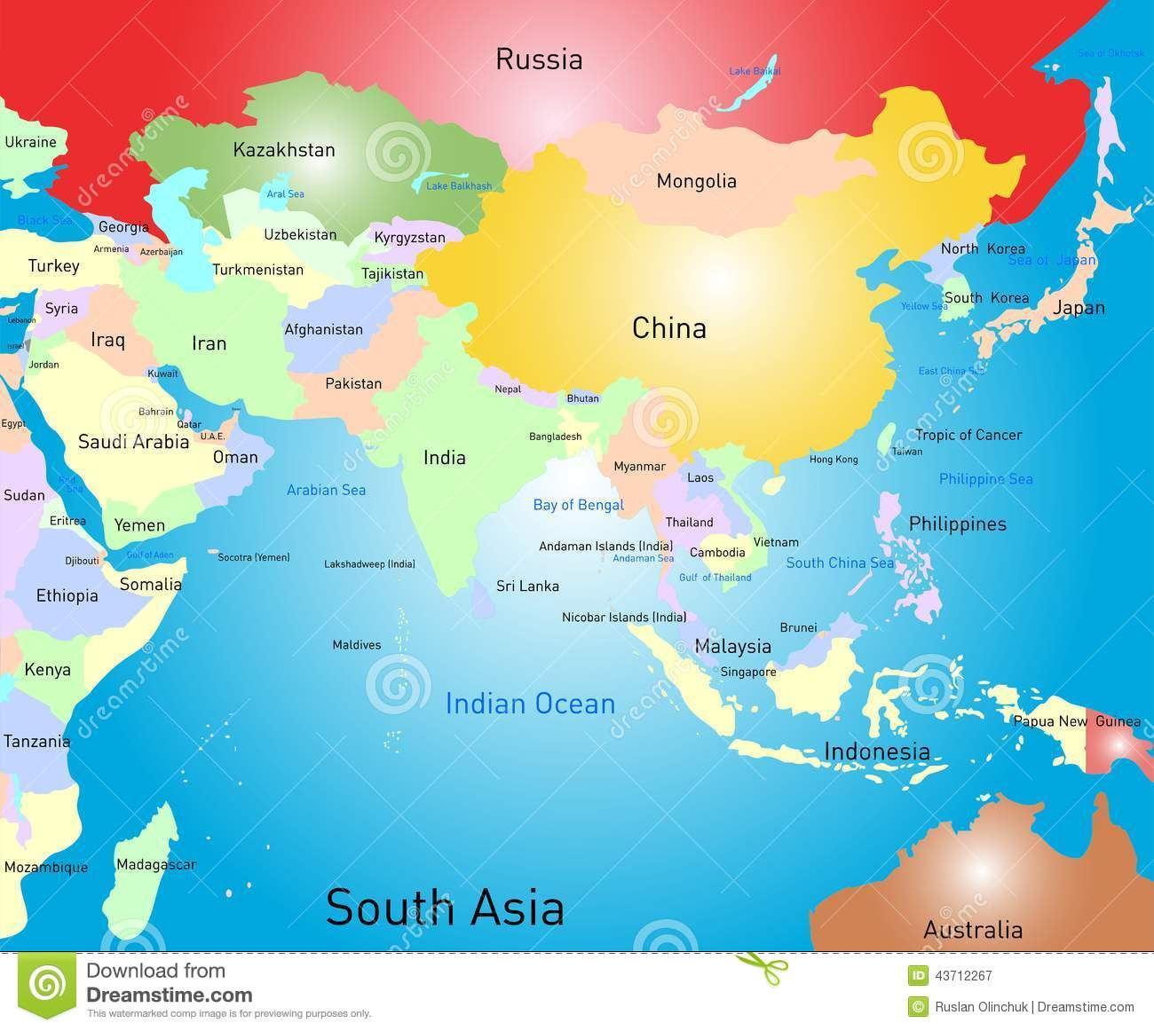 South Asia Map Vector Image 43712267 – South Asia Map