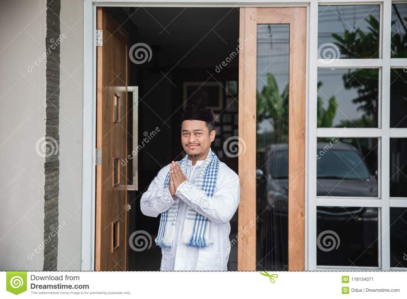 Man Showing Muslim Greeting Gesture Stock Image Image Of Fast
