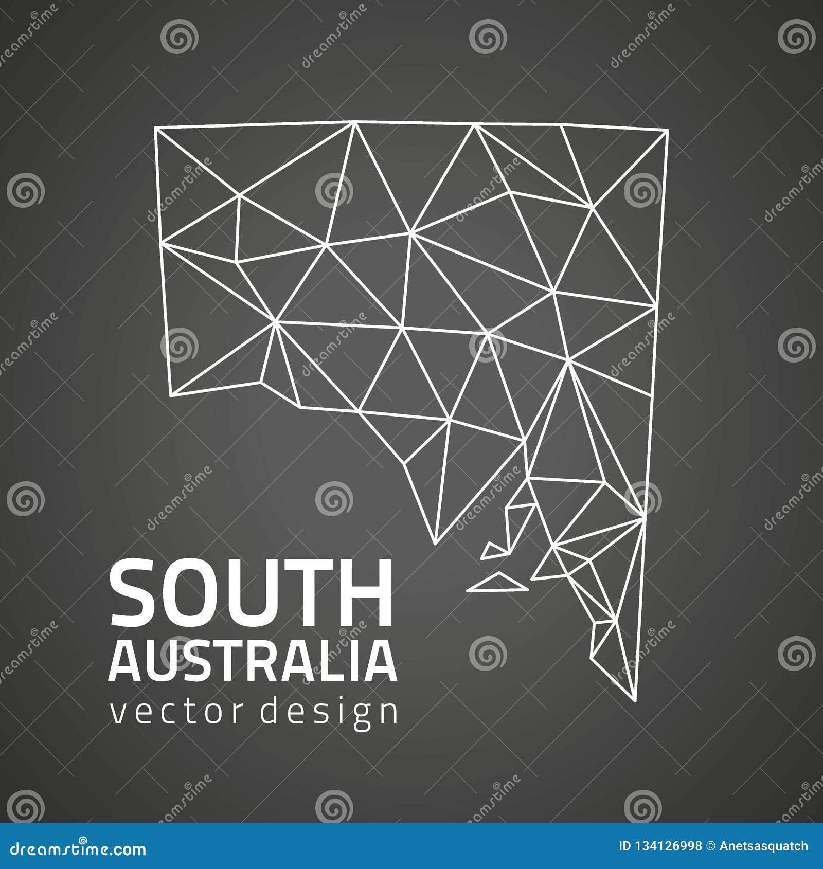 3d Map Of South Australia.South Australia Vector Mosaic Contour 3d Black Map Stock Vector