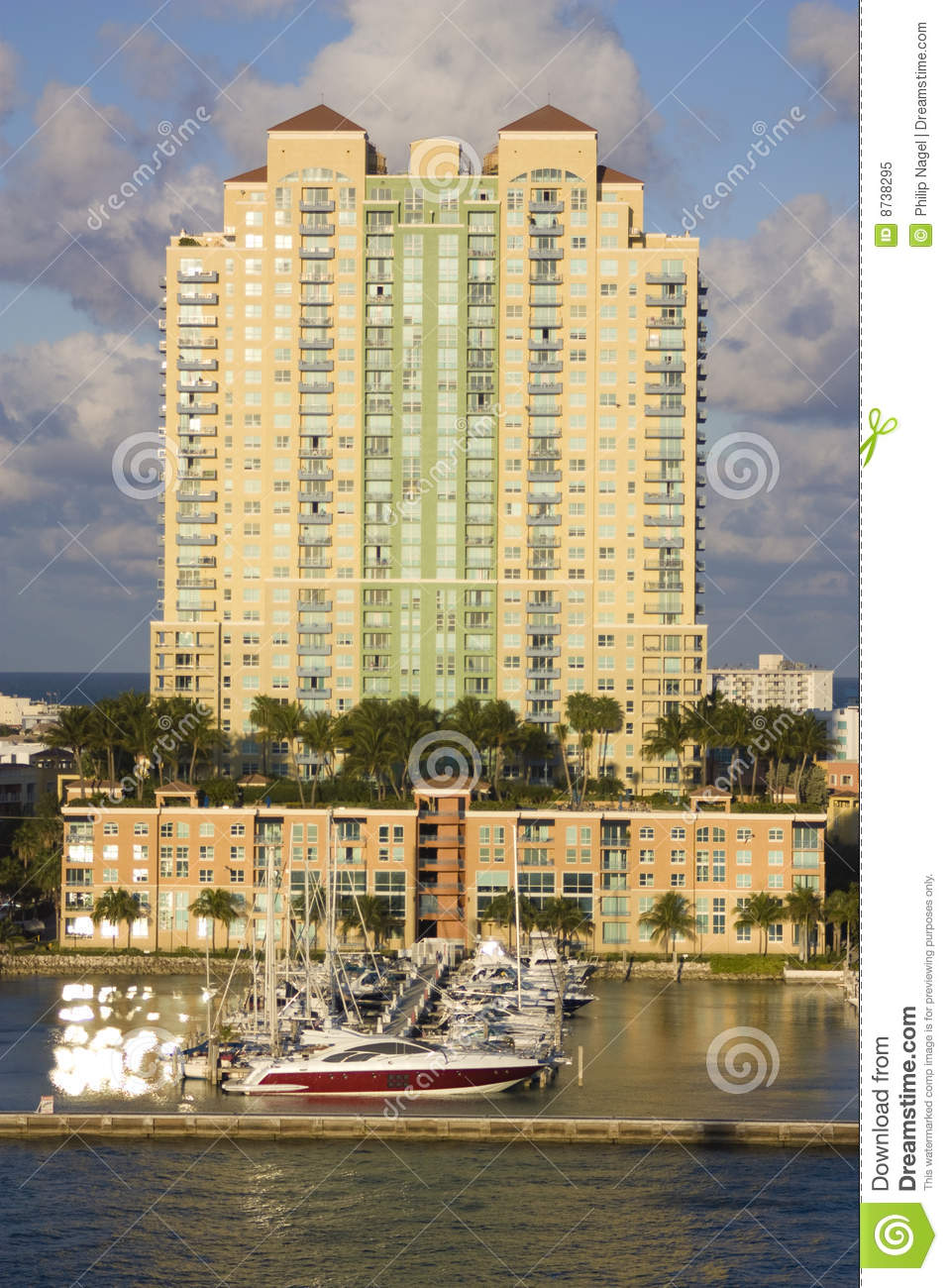 South Beach Appartment Building With Harbor Royalty Free