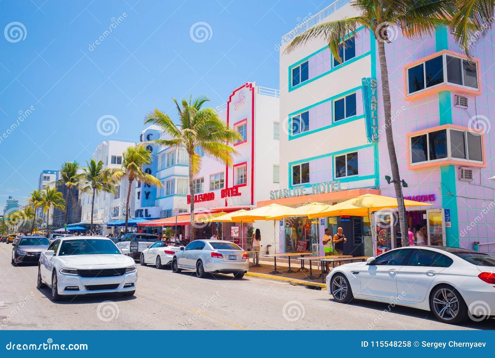 South Beach Miami Beach Ocean Drive Street Architectural