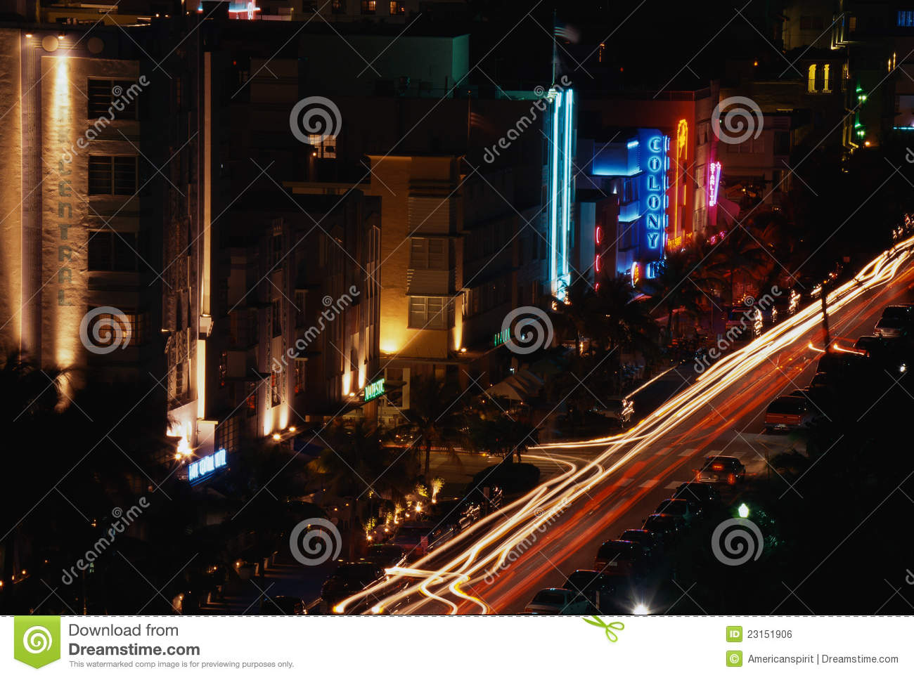 South Beach Miami Strip At Night Editorial Photo Image 23151906