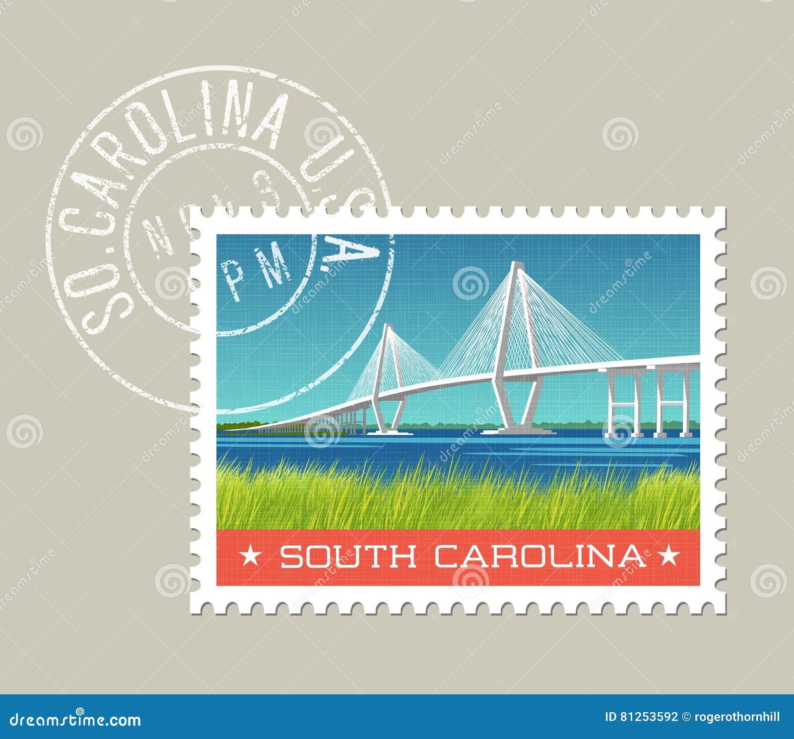 South Carolina kust- landskap med bron
