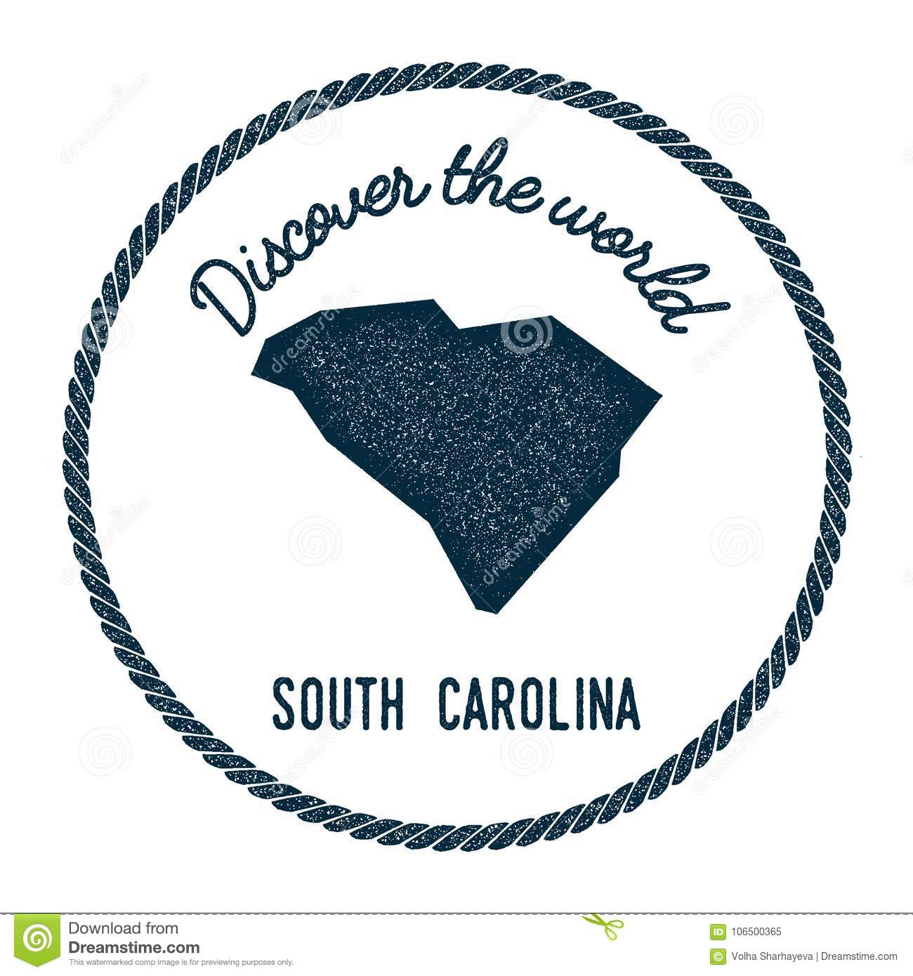 Vintage South Carolina Map.South Carolina Map In Vintage Discover The World Stock Vector