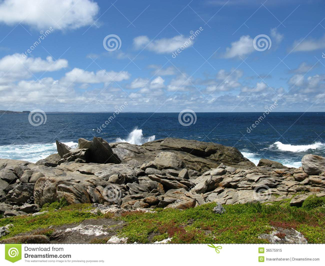 The rocks and the breakers of the Southern ocean at the south coast of ...