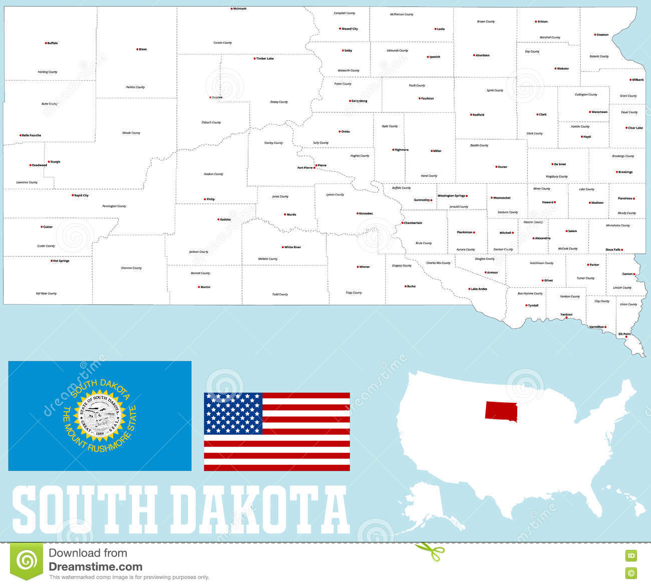 Picture of: South Dakota County Map Stock Vector Illustration Of Cities 78880254