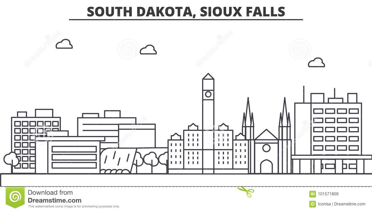 South Dakota Sioux Falls Architecture Line Skyline Illustration