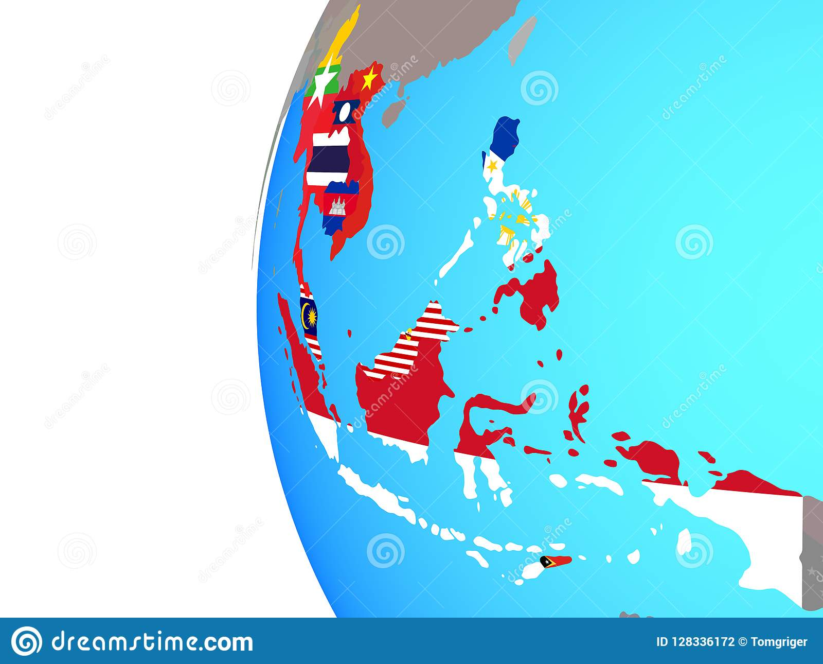 South East Asia With Flags On Globe Stock Illustration ... on map of world globe, map of north america globe, map of new zealand globe, map of middle east globe,