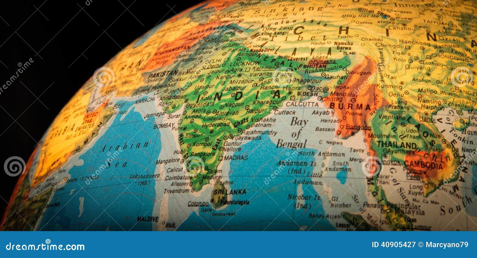 On The Globe India: India Globe Stock Image. Image Of Continental, Black