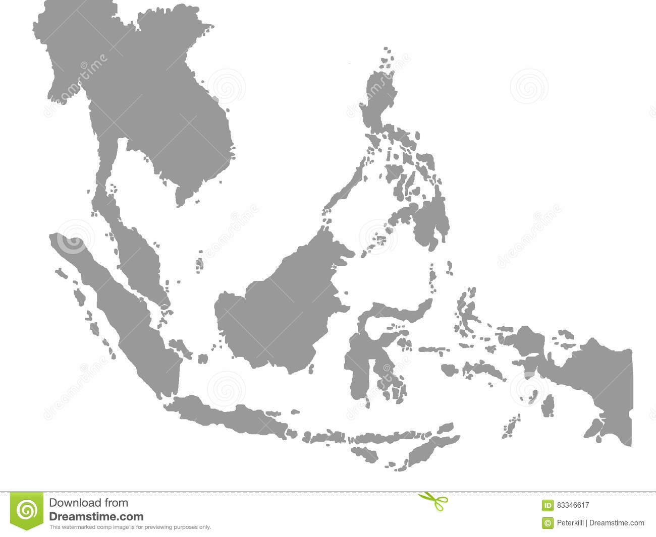south east asia map in white background